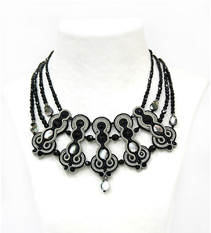 Dori Csengari embroidered silk necklace with gray mother of pearl and black Swarovski crystals