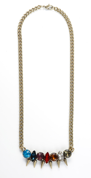 Jill Golden brass and crystal necklace