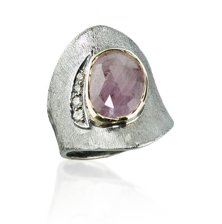 John Apel blackened silver ring with red sapphire and diamonds