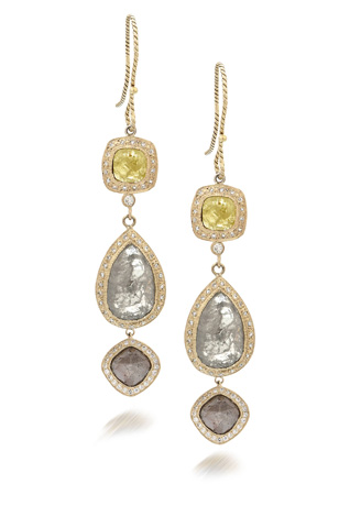 Just Jules diamond and gold earrings