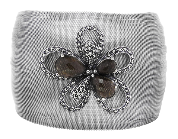 Marc Jewelry stainless-steel cuff with marcasite and smoky quartz