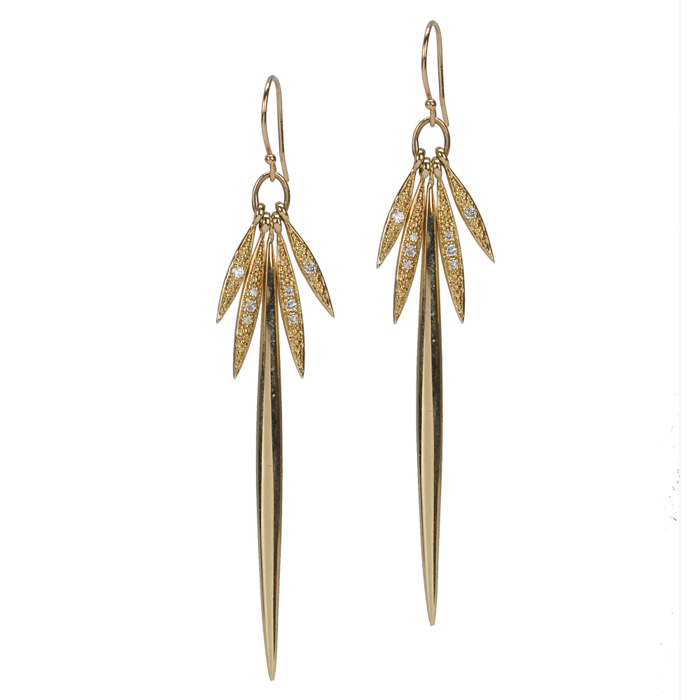 Mizuki Icicle gold and diamond earrings