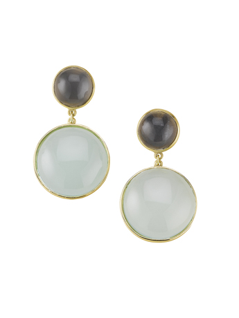 Sandy Leong earrings in 18k yellow gold with gray and blue chalcedony