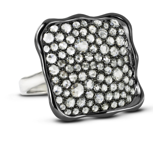 Sophia By Design ring in 18k gold with rose-cut diamonds