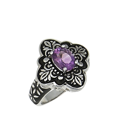 Sterling Reputation rhodium-plated brass and amethyst ring