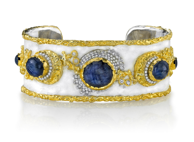Victor Velyan pure silver and 24k gold cuff with sapphires