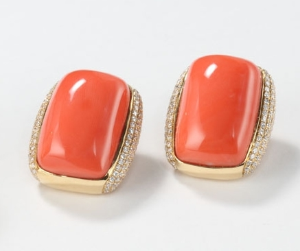 Rina Limor coral and diamond earrings