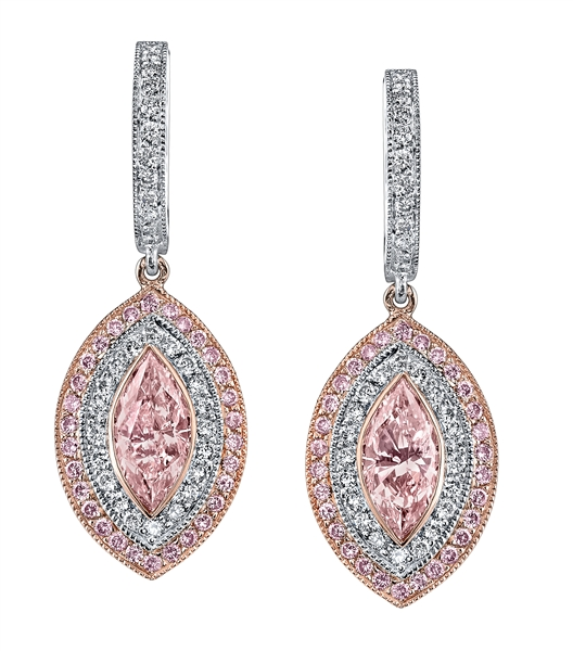 Joshua J pink diamond earrings