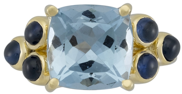 Temple St. Clair aqua cushion ring
