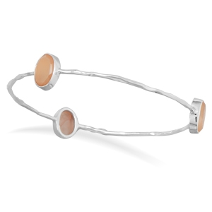 Silver Stars peach moonstone bangle