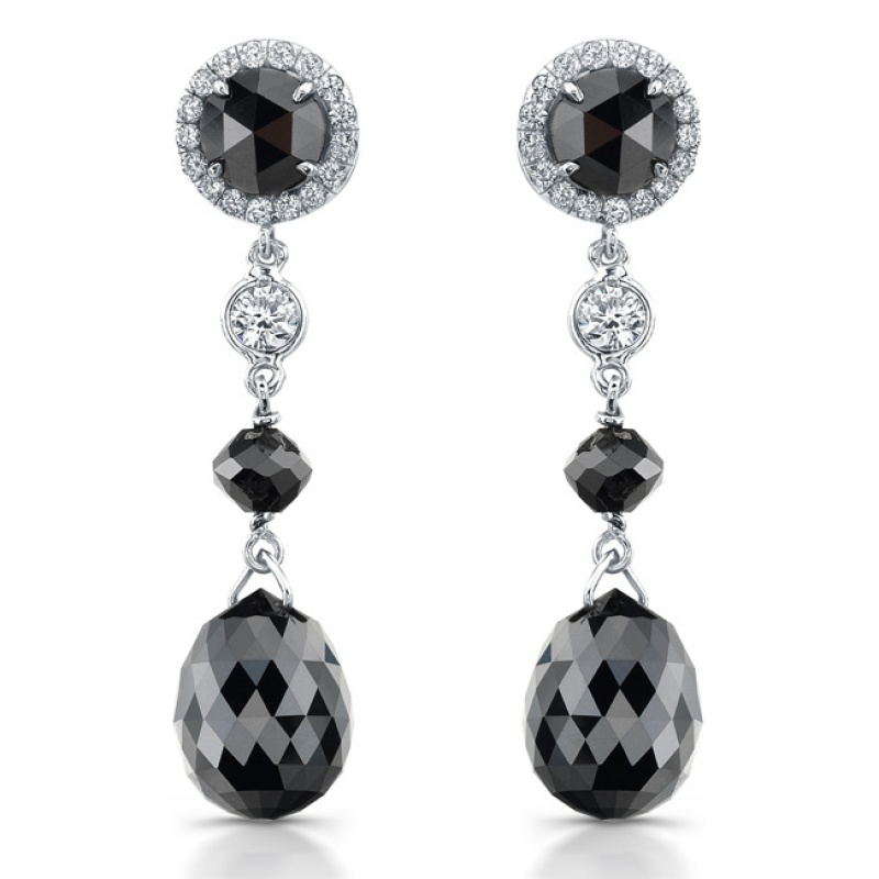 Rahaminov black diamond bead earrings