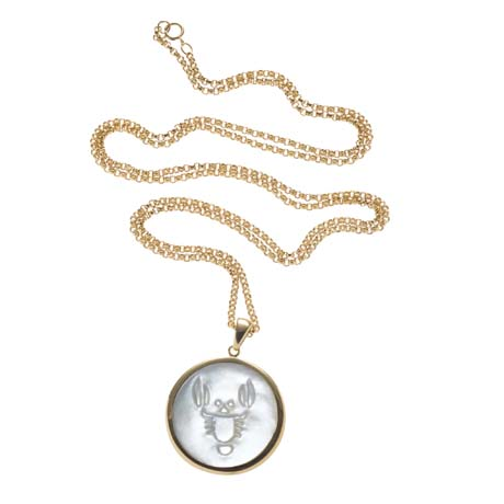 ASHA by ADM cameo-inspired Zodiac pendant necklace in 14k gold vermeil