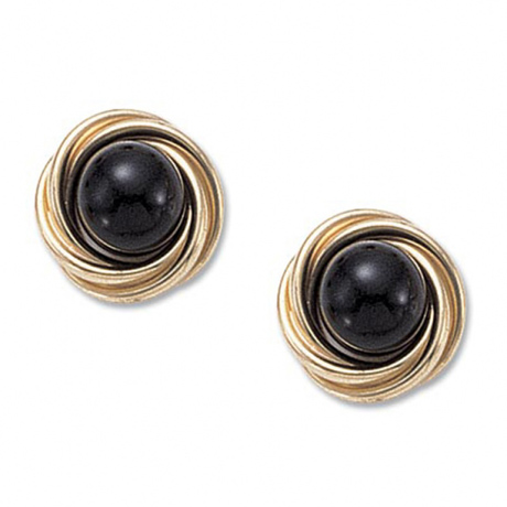 onyx and 14k gold earrings by Carla Corporation