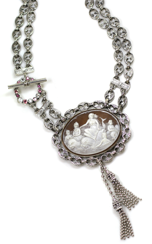 Echo of the Dreamer/Mars Valentine cameo necklace in silver with pink tourmaline and white topaz