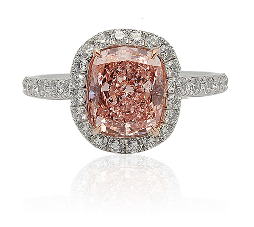 Global Diamond Orangey-Pink Diamond Ring
