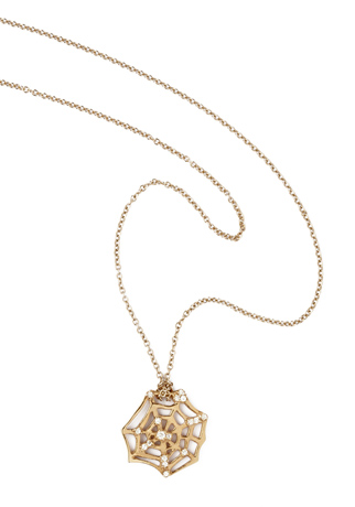 Catch spider web necklace in 18k rose gold with diamonds by iKuria