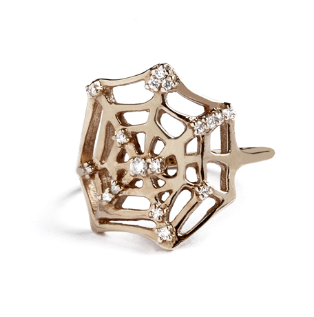 Catch spider web ring in 18k rose gold with diamonds by iKuria