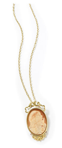 Victoria cameo necklace in 18k gold by Jennifer Kellogg