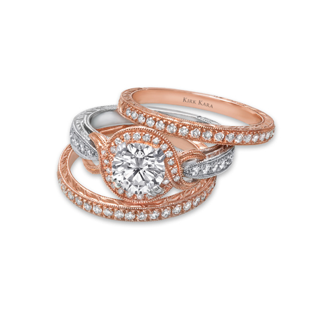Kirk Kara rose gold engagement rings