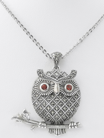 Sterling marcasite owl necklace by MARC