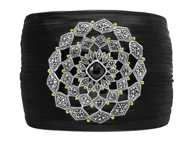 Marc Jewelry stainless-steel cuff with marcasite and onyx