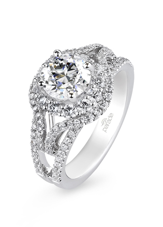 Parade Designs double halo diamond and gold enagagement ring