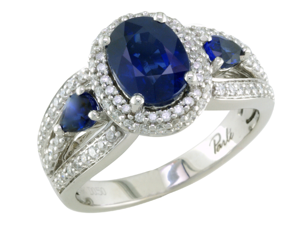 Parle Jewelry double halo sapphire and diamond enagagement ring