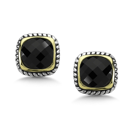onyx, silver, and gold earrings by Lorenzo by Simon Golub