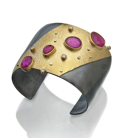 Sydney Lynch 22k gold and sterling bimetal and ruby cuff bracelet
