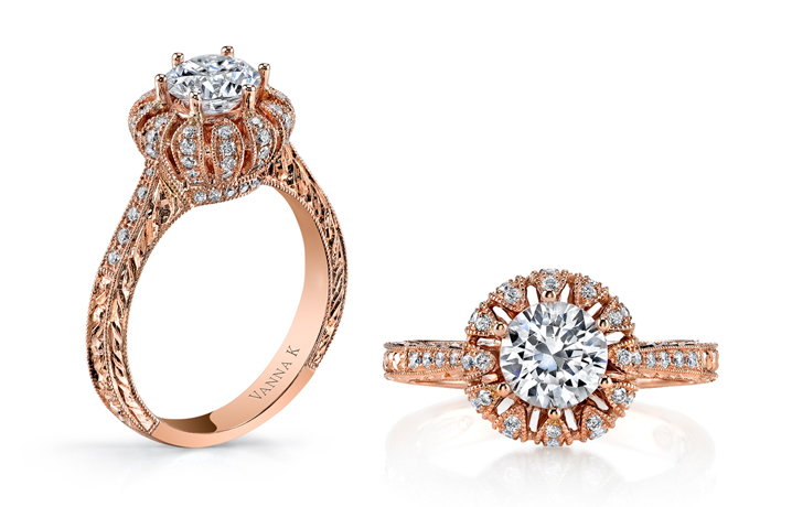 Vanna K rose gold engagement ring