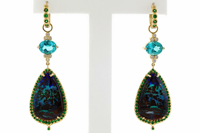 Erica Courtney Best Use of Color gold earrings with opal, apatite, and tsavorite garnet