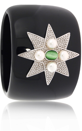 Resin cuff with silver, pearls, and CZ by Angelique de Paris