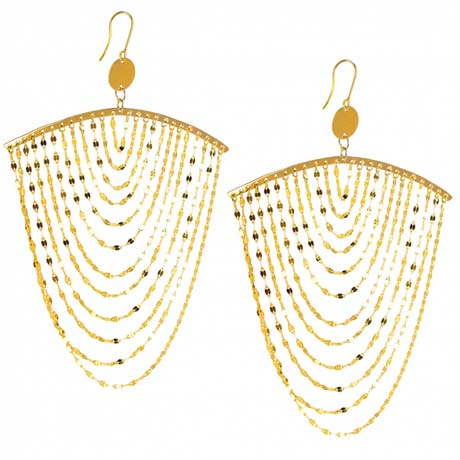 Lana Jewelry Large Cascade earrings in 14k tri-color gold