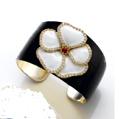 Enamel, gold, diamond, and sterling cuff by Haggai Collection