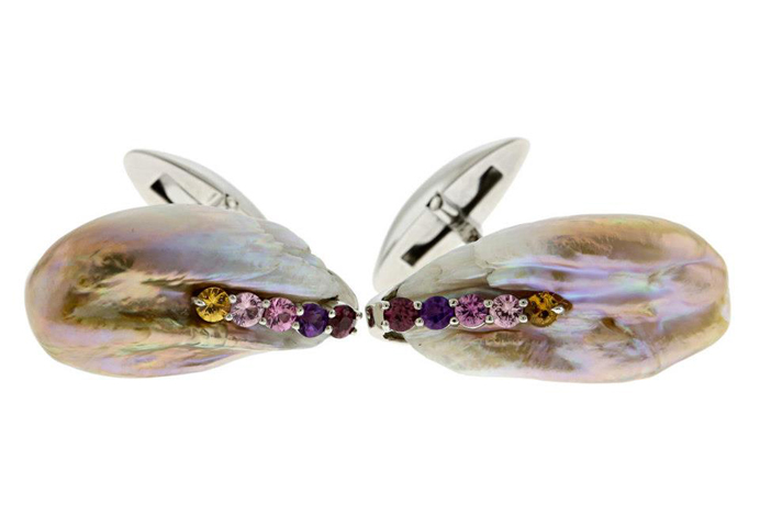Naomi Sarna baroque pearl and colored sapphire cufflinks Men's Wear First Place