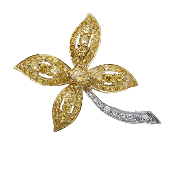 Superior Diamond Cutters yellow diamond brooch