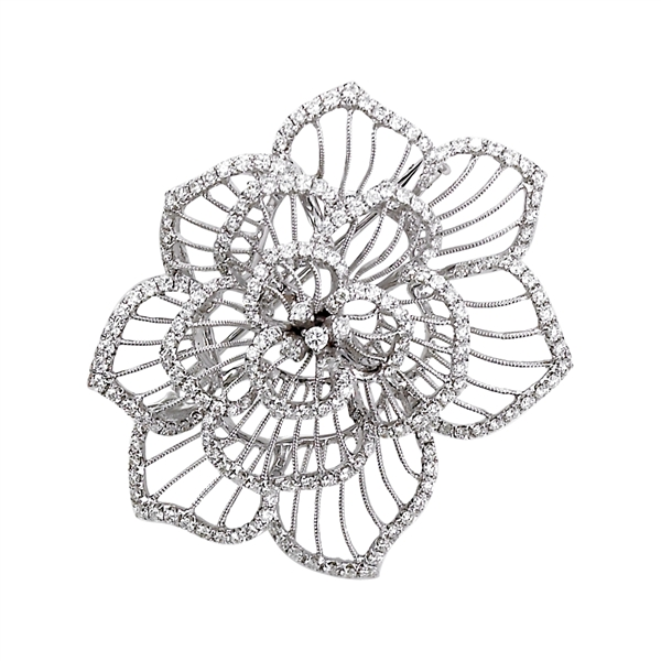 Jye diamond flower brooch