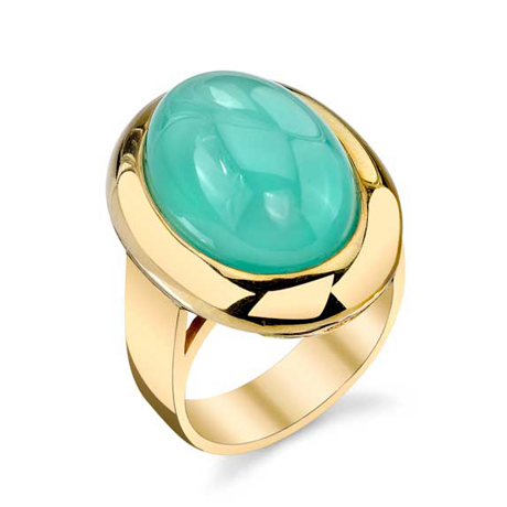 Adeler Jewelers gold and chalcedony ring