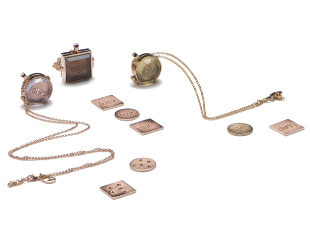 Gold-plated sterling and gemstone lockets by Art of Henri