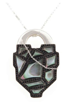 Locket in sterling and mother of pearl by Kara Ross