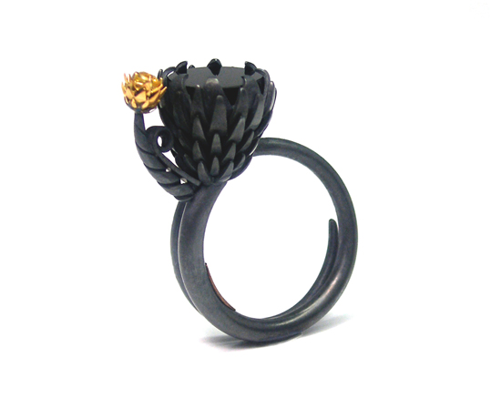 Protea's Moonlight ring with yellow diamonds by Claudio Pino