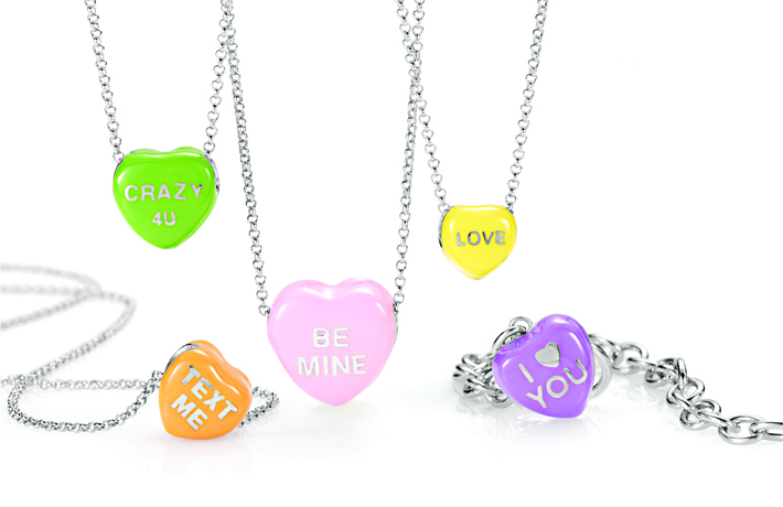 Sweethearts Candy jewelry in silver from World Trade Jewelers for Stuller