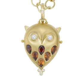 Owl locket in 18k gold by Temple St. Clair