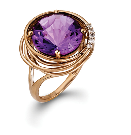Zeghani amethyst ring in gold