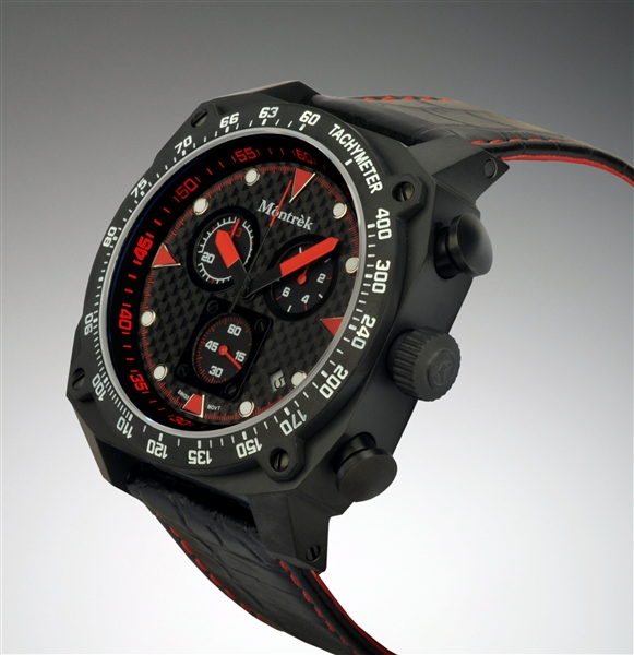 Montrek black and red watch