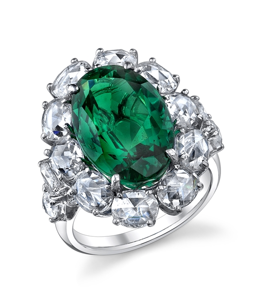 Hubert emerald and diamond ring
