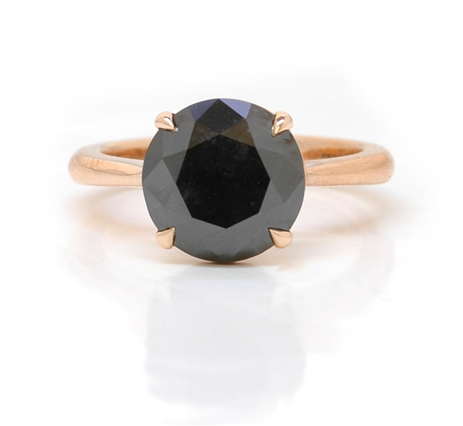 Leibish and Co. black diamond solitaire ring