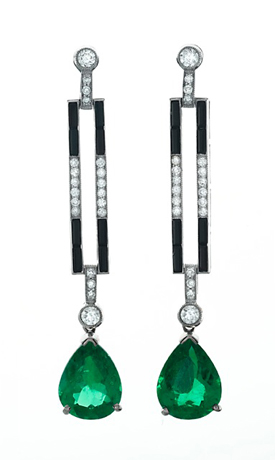 East Continental Gems emerald earrings