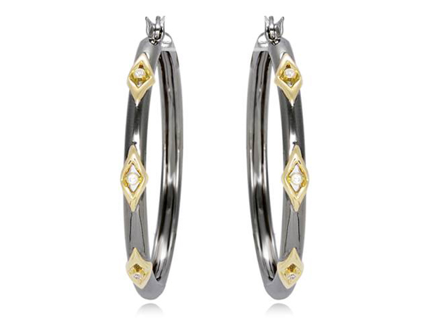 Hera Collection silver hoops with 18k gold