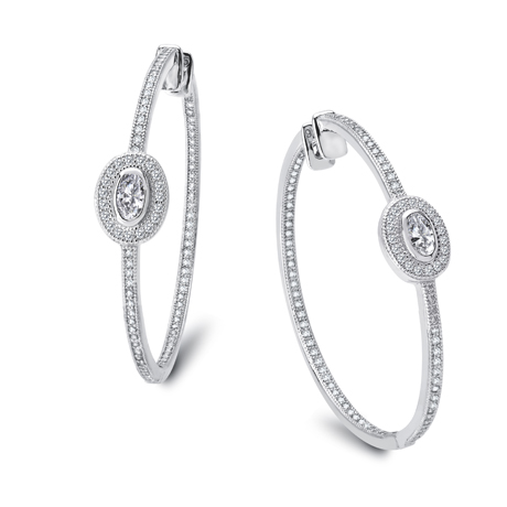 Lafonn platinum-bonded silver hoops with simulated diamonds